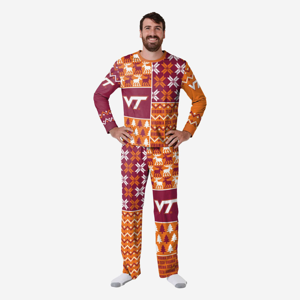 Virginia Tech Hokies Mens Busy Block Family Holiday Pajamas FOCO S - FOCO.com