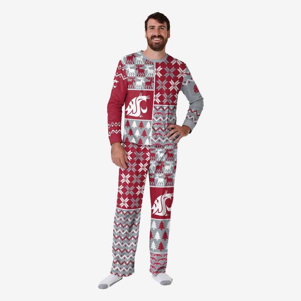 Washington State Cougars Mens Busy Block Family Holiday Pajamas FOCO S - FOCO.com