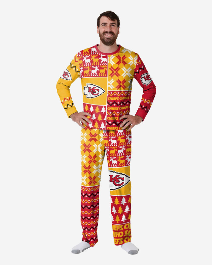 Kansas City Chiefs Mens Busy Block Family Holiday Pajamas FOCO S - FOCO.com
