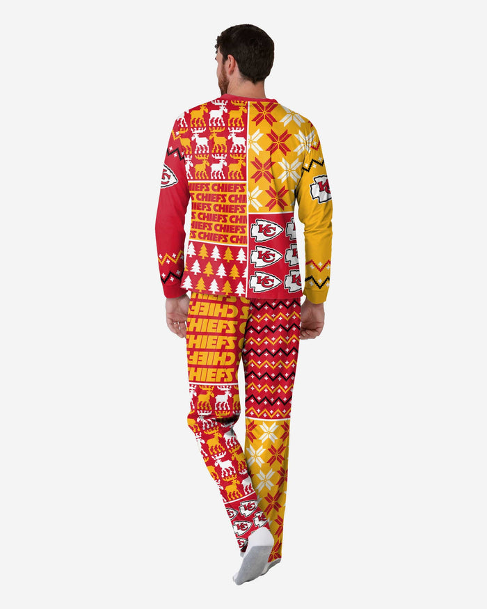 Kansas City Chiefs Mens Busy Block Family Holiday Pajamas FOCO - FOCO.com