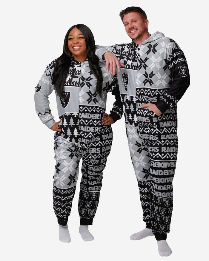 Las Vegas Raiders Busy Block One Piece Pajamas FOCO S - FOCO.com