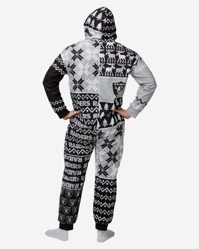 Las Vegas Raiders Busy Block One Piece Pajamas FOCO - FOCO.com