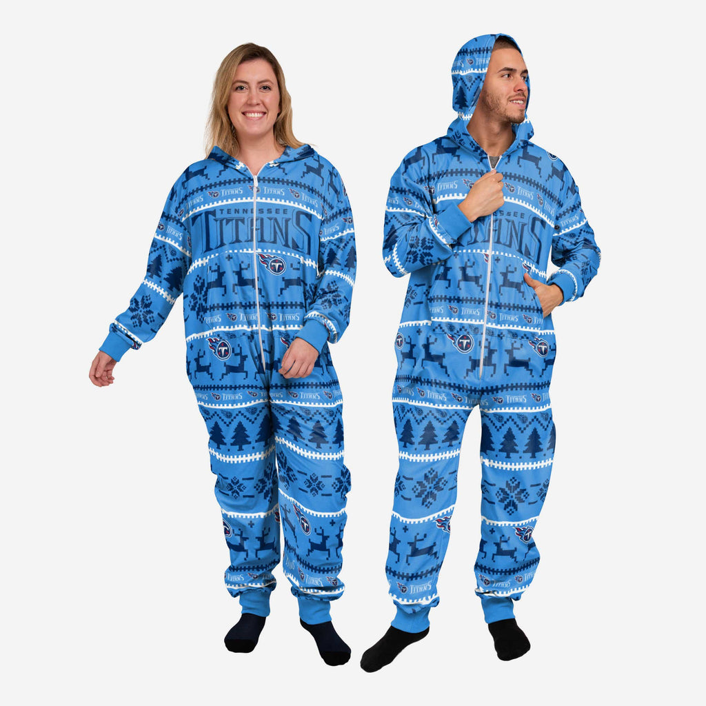 Tennessee Titans Holiday One Piece Pajamas FOCO XS - FOCO.com