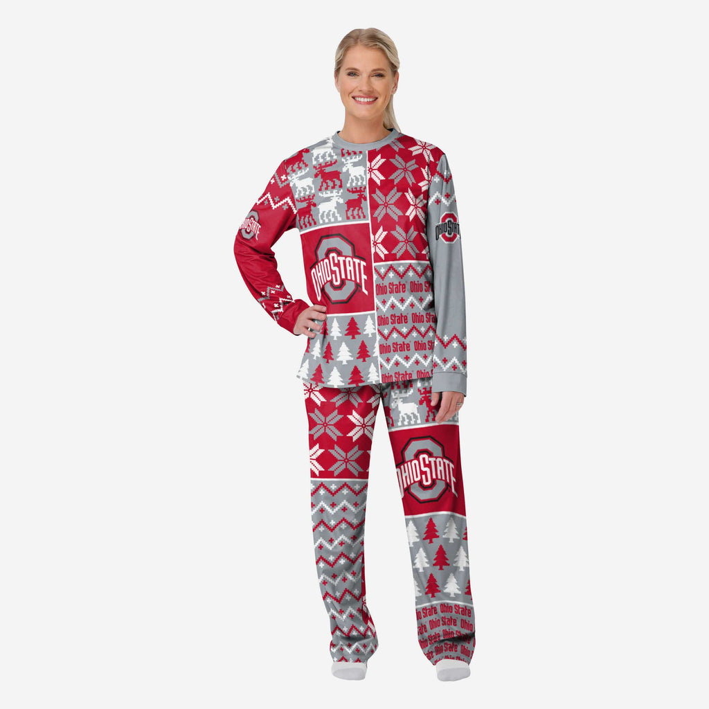 Ohio State Buckeyes Womens Busy Block Family Holiday Pajamas FOCO S - FOCO.com