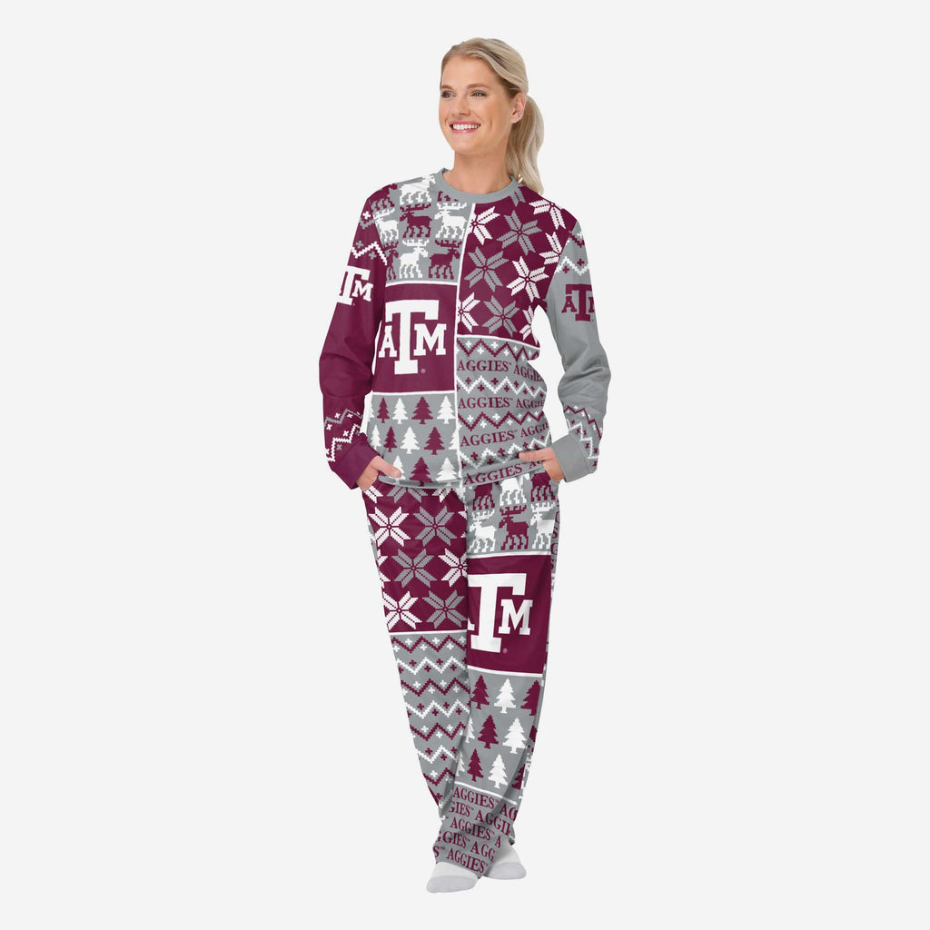 Texas A&M Aggies Womens Busy Block Family Holiday Pajamas FOCO S - FOCO.com