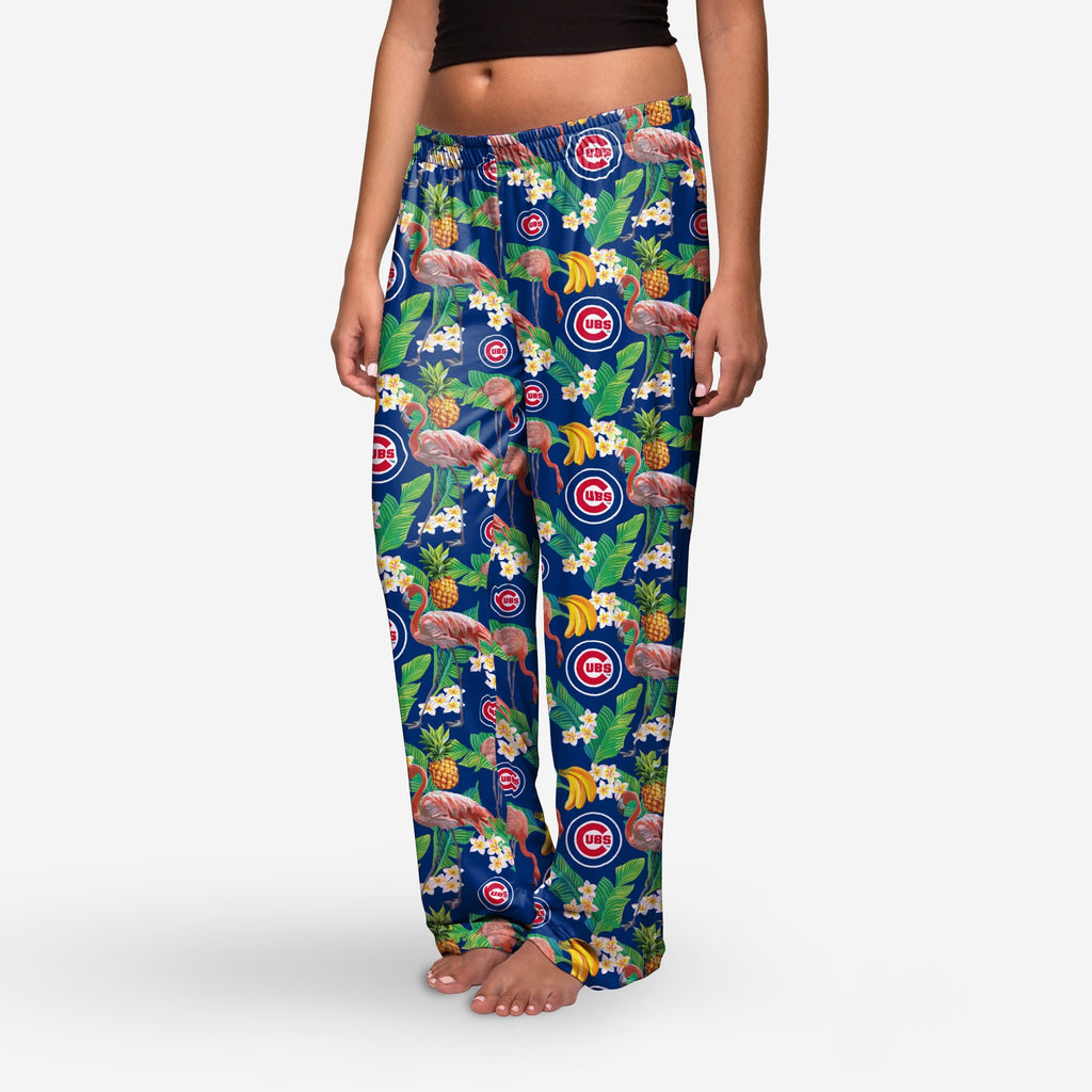 Chicago Cubs Womens Floral Polyester Pant FOCO - FOCO.com