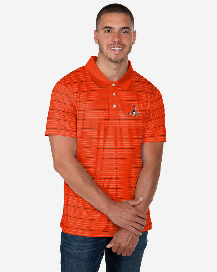Cleveland Browns Striped Polyester Polo FOCO S - FOCO.com