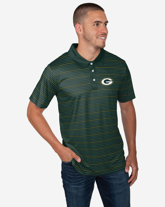 Green Bay Packers Striped Polyester Polo FOCO S - FOCO.com