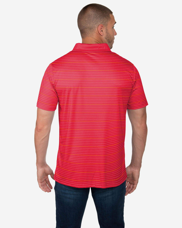 Kansas City Chiefs Striped Polyester Polo FOCO - FOCO.com