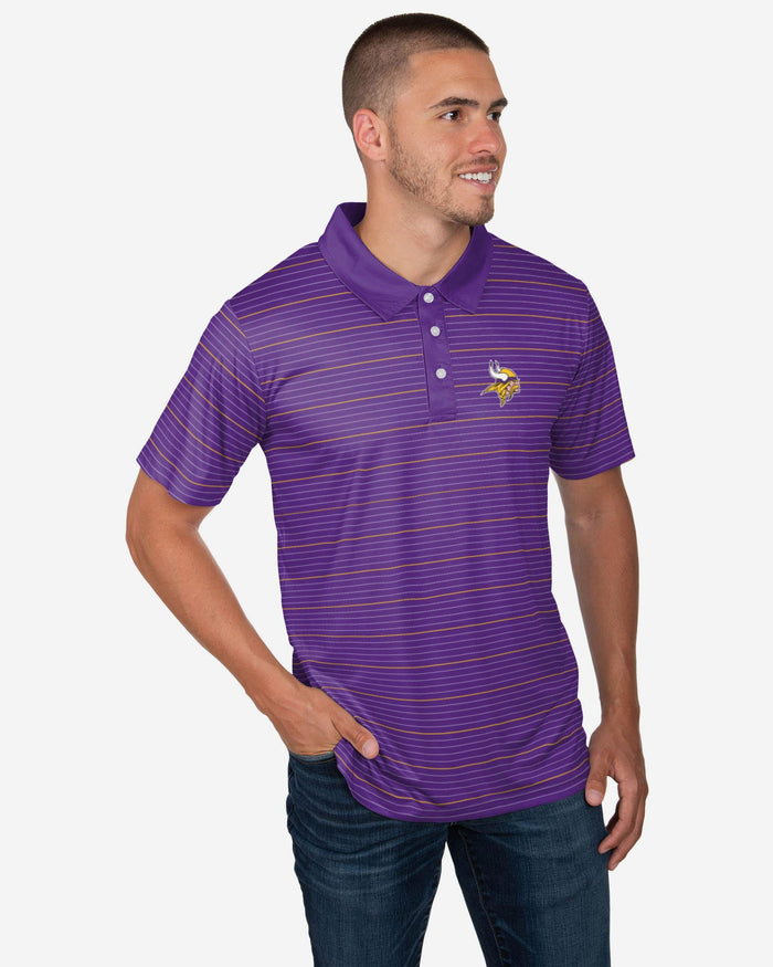 Minnesota Vikings Striped Polyester Polo FOCO S - FOCO.com