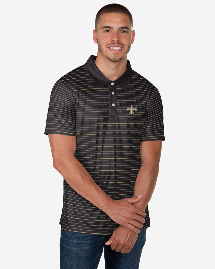 New Orleans Saints Striped Polyester Polo FOCO S - FOCO.com