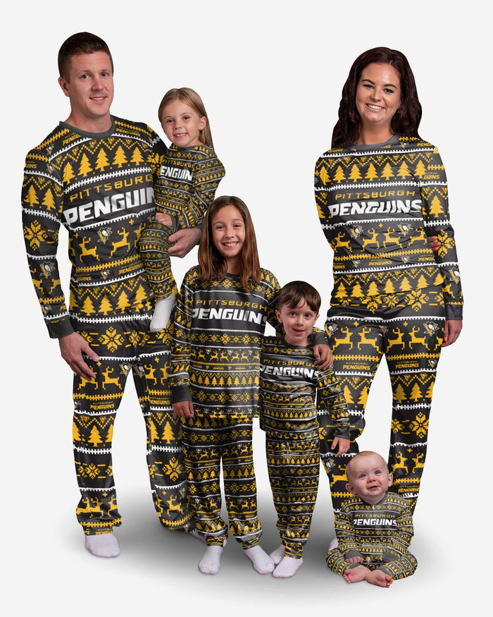 Pittsburgh Penguins Youth Family Holiday Pajamas FOCO - FOCO.com