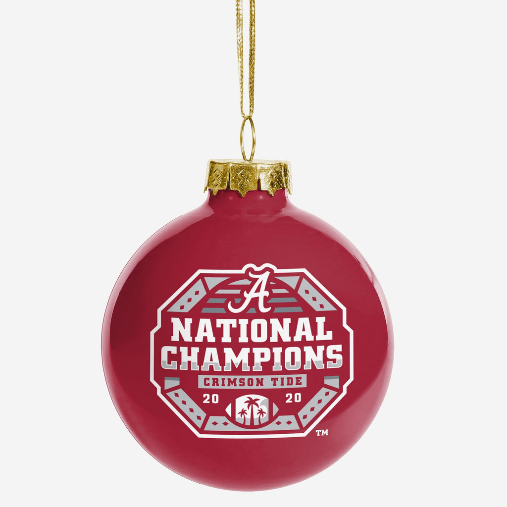 Alabama Crimson Tide 2020 Football National Champions Glass Ball Ornament FOCO - FOCO.com