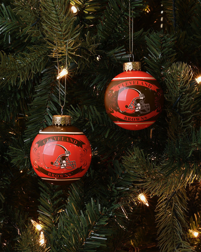 Cleveland Browns 2 Pack Ball Ornament Set FOCO - FOCO.com