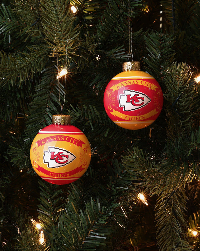 Kansas City Chiefs 2 Pack Ball Ornament Set FOCO - FOCO.com