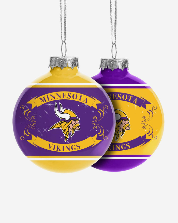 Minnesota Vikings 2 Pack Ball Ornament Set FOCO - FOCO.com