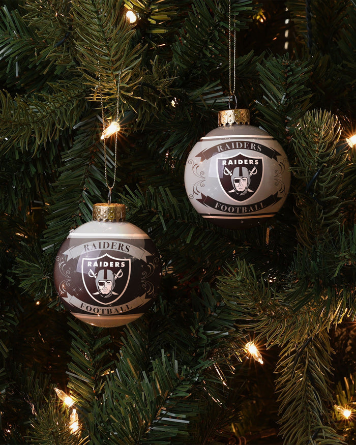 Oakland Raiders 2 Pack Ball Ornament Set FOCO - FOCO.com