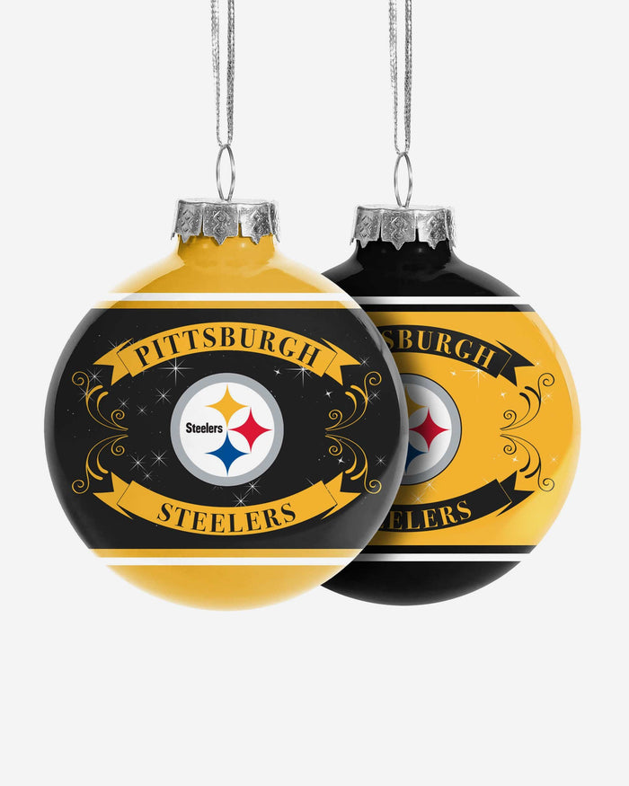 Pittsburgh Steelers 2 Pack Ball Ornament Set FOCO - FOCO.com