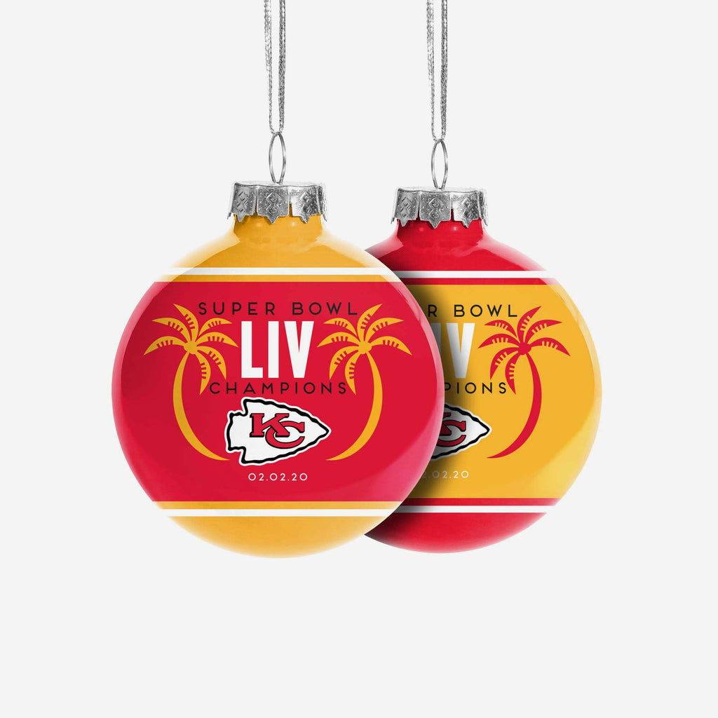 Kansas City Chiefs Super Bowl LIV Champions 2 Pack Glass Ball Ornament FOCO - FOCO.com