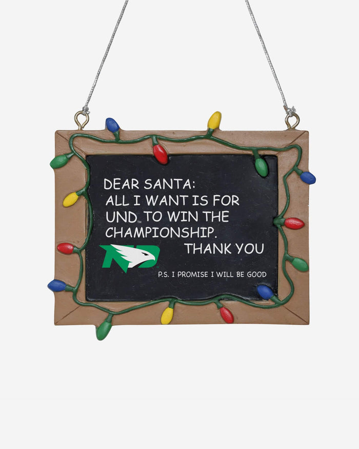 North Dakota Fighting Hawks Resin Chalkboard Sign Ornament FOCO - FOCO.com
