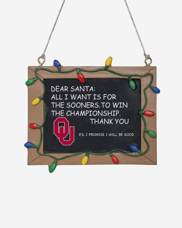 Oklahoma Sooners Resin Chalkboard Sign Ornament FOCO - FOCO.com