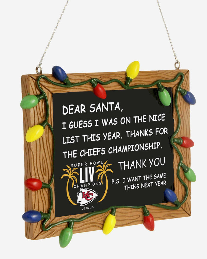 Kansas City Chiefs Super Bowl LIV Champions Chalkboard Sign Ornament FOCO - FOCO.com