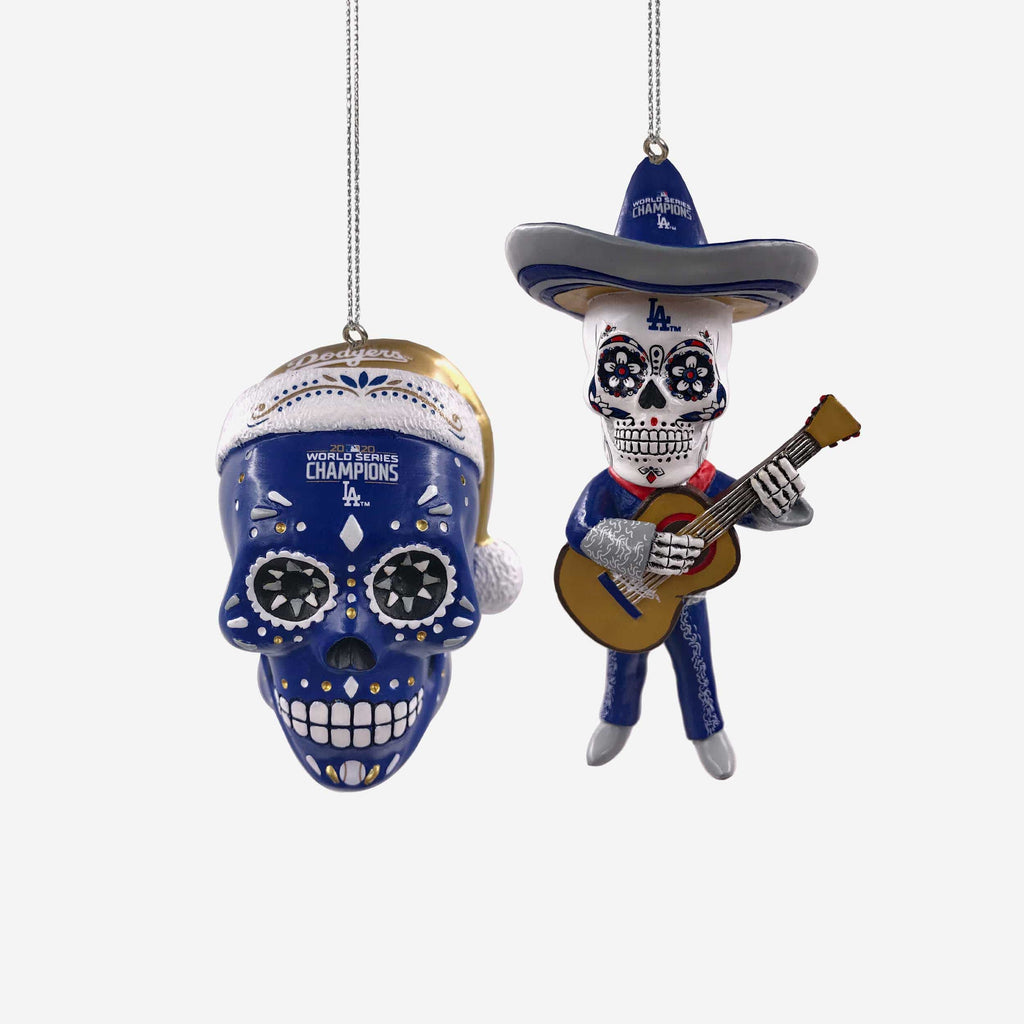 Los Angeles Dodgers 2020 World Series Champions Sugar Skull 2 Pack Ornament FOCO - FOCO.com