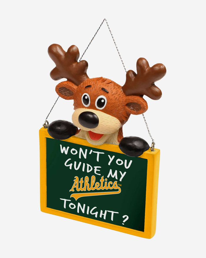 Oakland Athletics Reindeer With Sign Ornament FOCO - FOCO.com