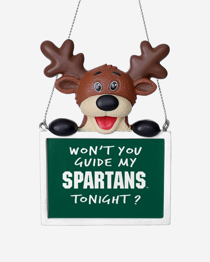 Michigan State Spartans Reindeer With Sign Ornament FOCO - FOCO.com
