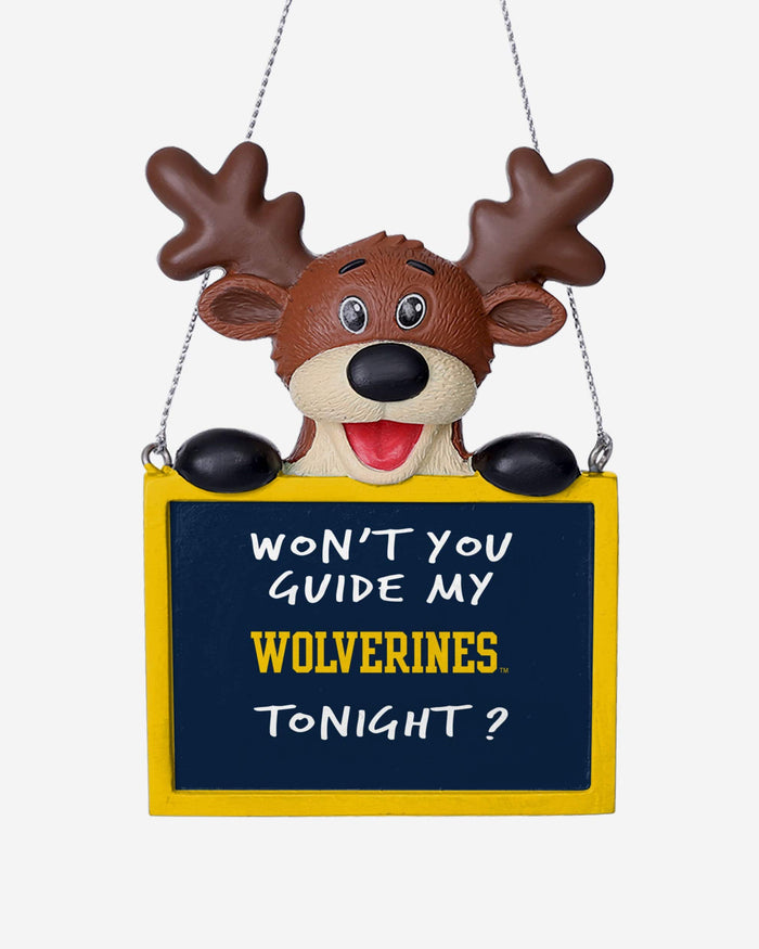 Michigan Wolverines Reindeer With Sign Ornament FOCO - FOCO.com