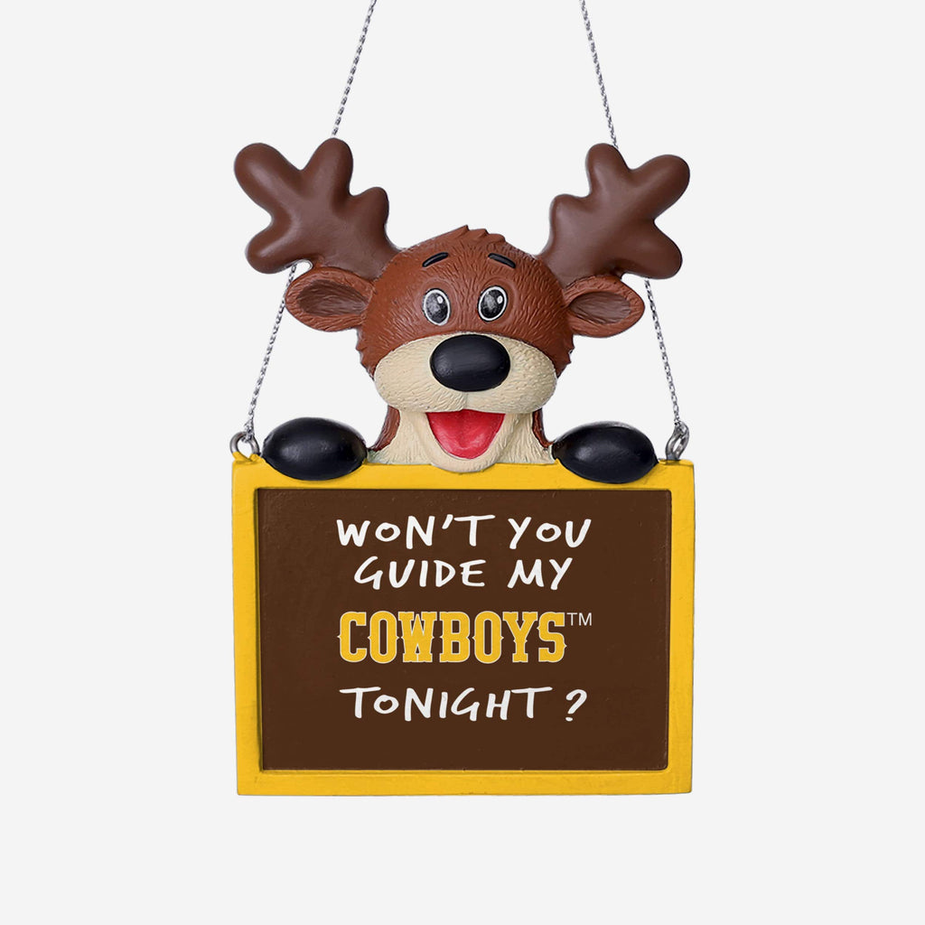 Wyoming Cowboys Reindeer With Sign Ornament FOCO - FOCO.com