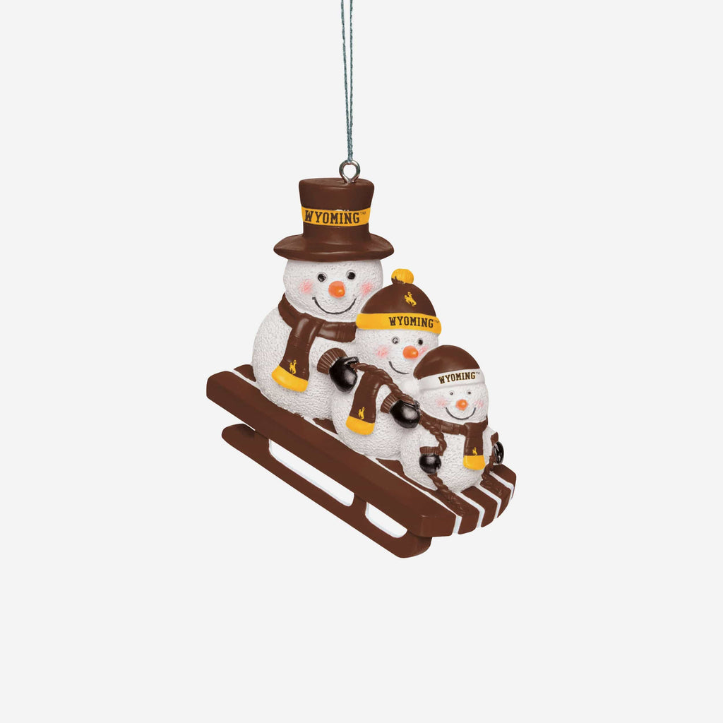 Wyoming Cowboys Sledding Snowmen Ornament FOCO - FOCO.com