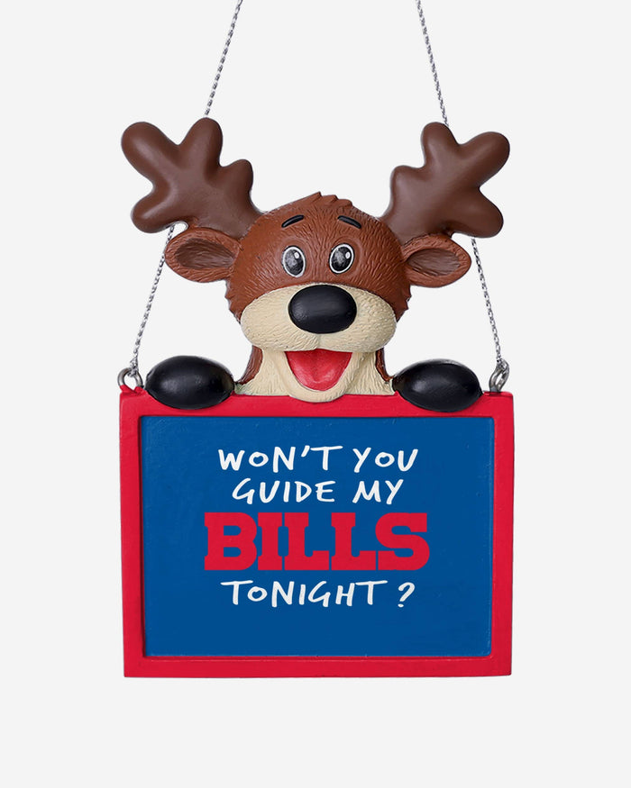 Buffalo Bills Reindeer With Sign Ornament FOCO - FOCO.com