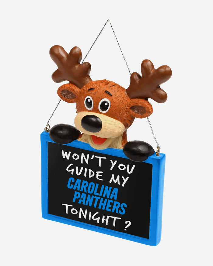 Carolina Panthers Reindeer With Sign Ornament FOCO - FOCO.com