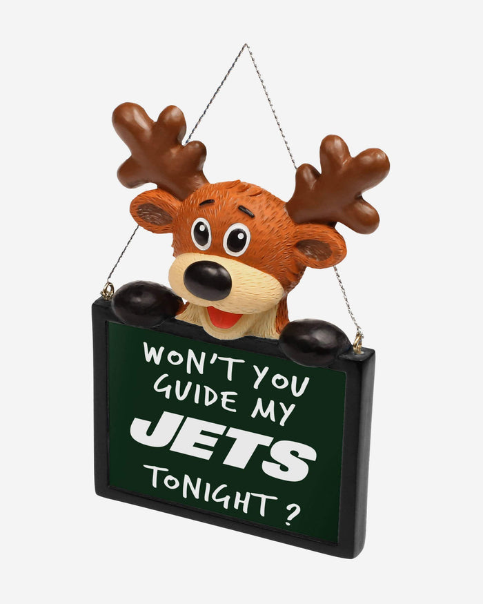 New York Jets Reindeer With Sign Ornament FOCO - FOCO.com