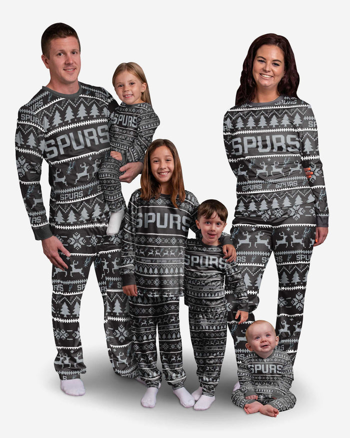 San Antonio Spurs Infant Family Holiday Pajamas FOCO - FOCO.com