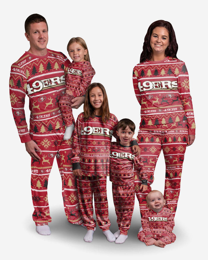 San Francisco 49ers Youth Family Holiday Pajamas FOCO - FOCO.com