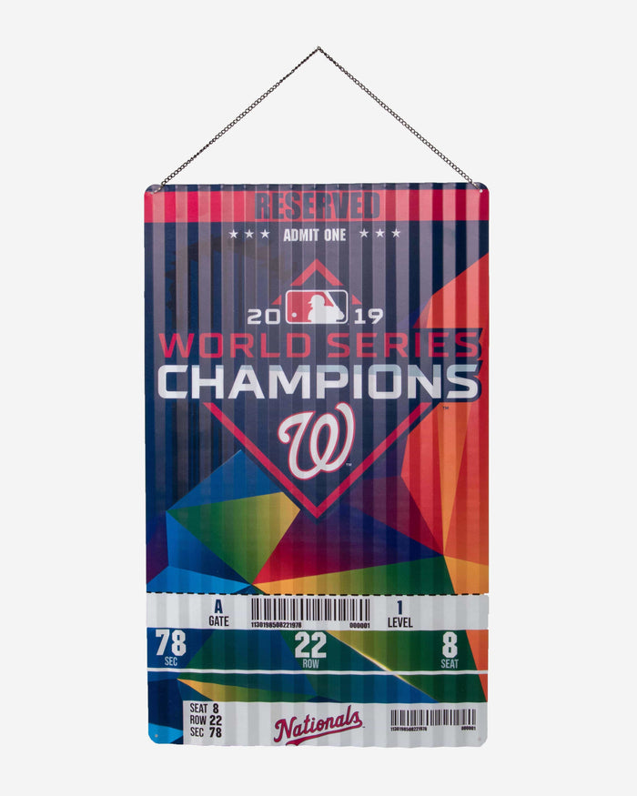 Washington Nationals 2019 World Series Champions Corrugated Metal Wall Sign FOCO - FOCO.com
