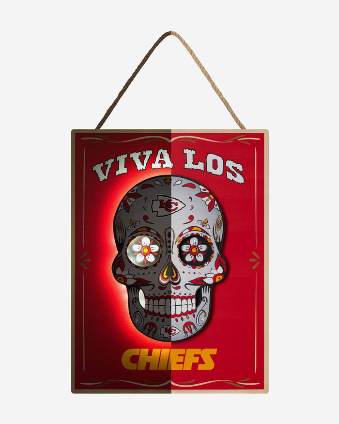 Kansas City Chiefs Day Of The Dead LED Sign FOCO - FOCO.com