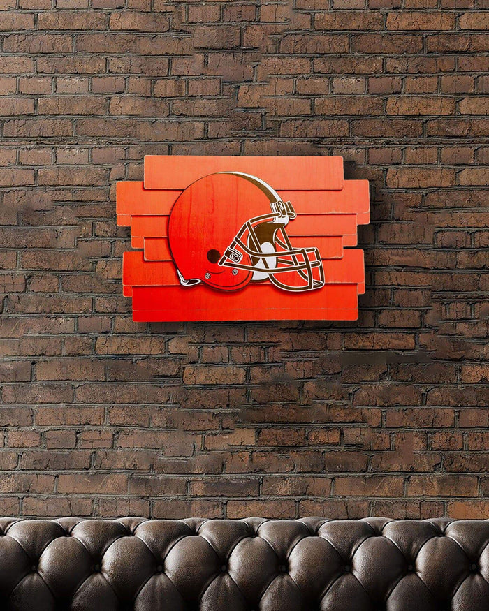 Cleveland Browns Staggered Wood Logo Sign FOCO - FOCO.com