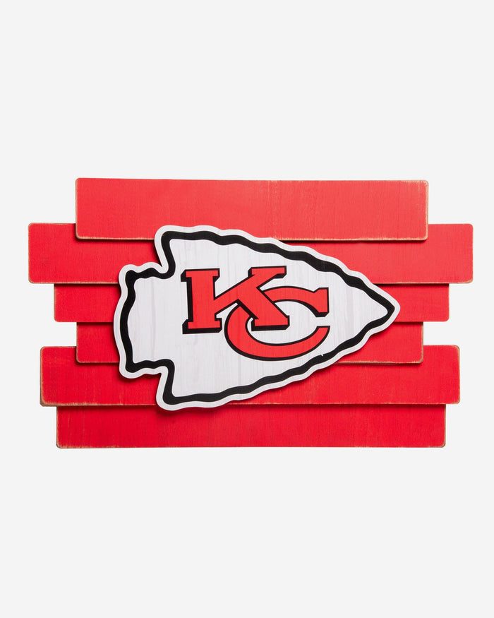 Kansas City Chiefs Staggered Wood Logo Sign FOCO - FOCO.com