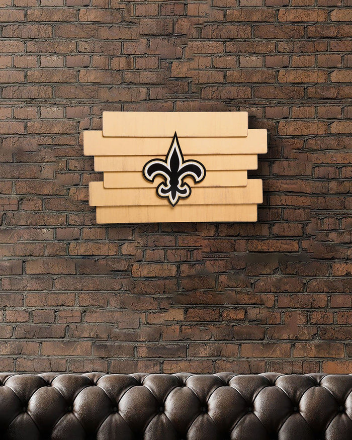 New Orleans Saints Staggered Wood Logo Sign FOCO - FOCO.com