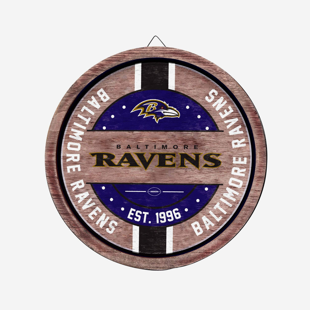 Baltimore Ravens Wooden Barrel Sign FOCO - FOCO.com