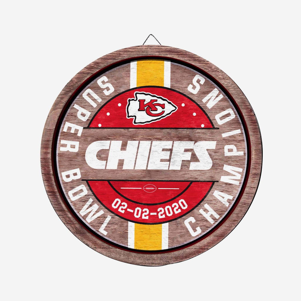 Kansas City Chiefs Super Bowl LIV Champions Wooden Barrel Sign FOCO - FOCO.com