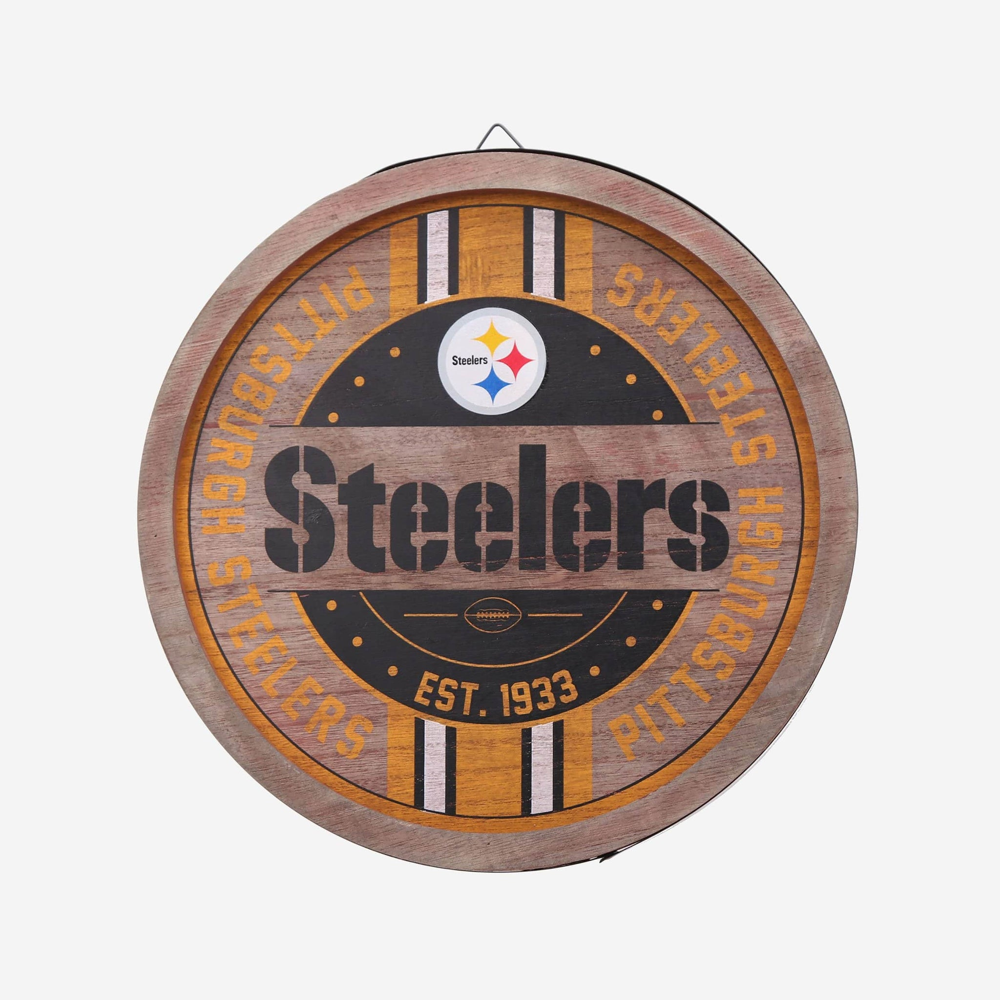 Pittsburgh Steelers Wooden Barrel Sign FOCO - FOCO.com