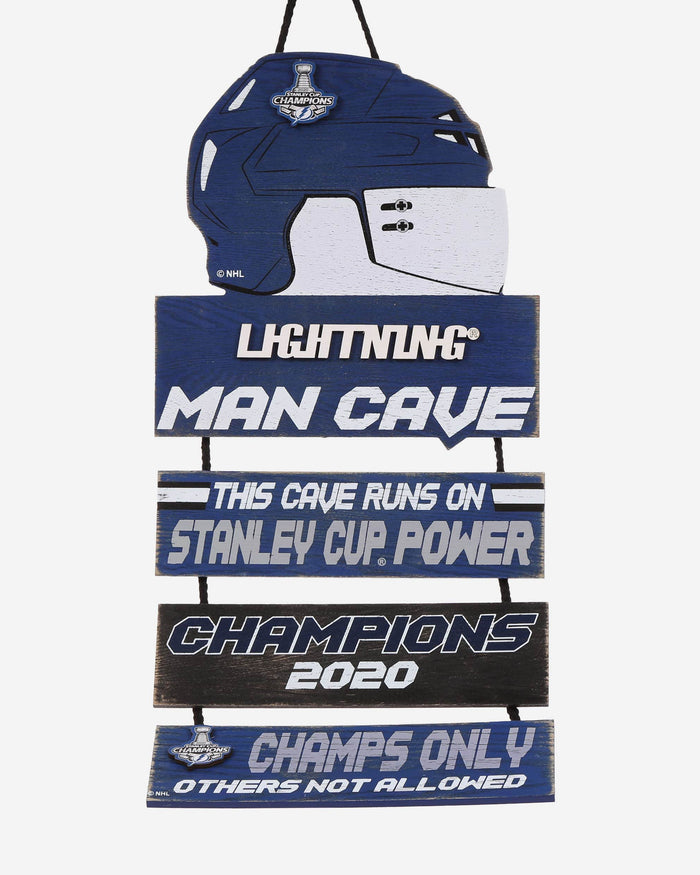 Tampa Bay Lightning 2020 Stanley Cup Champions Helmet Mancave Sign FOCO - FOCO.com