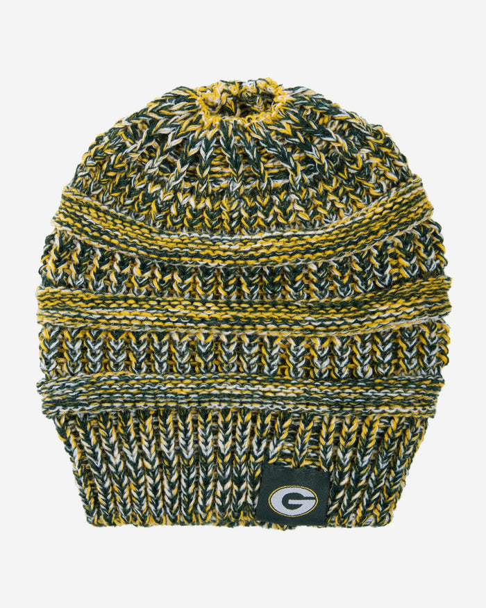 Green Bay Packers Womens Color Wave Ponytail Beanie FOCO - FOCO.com