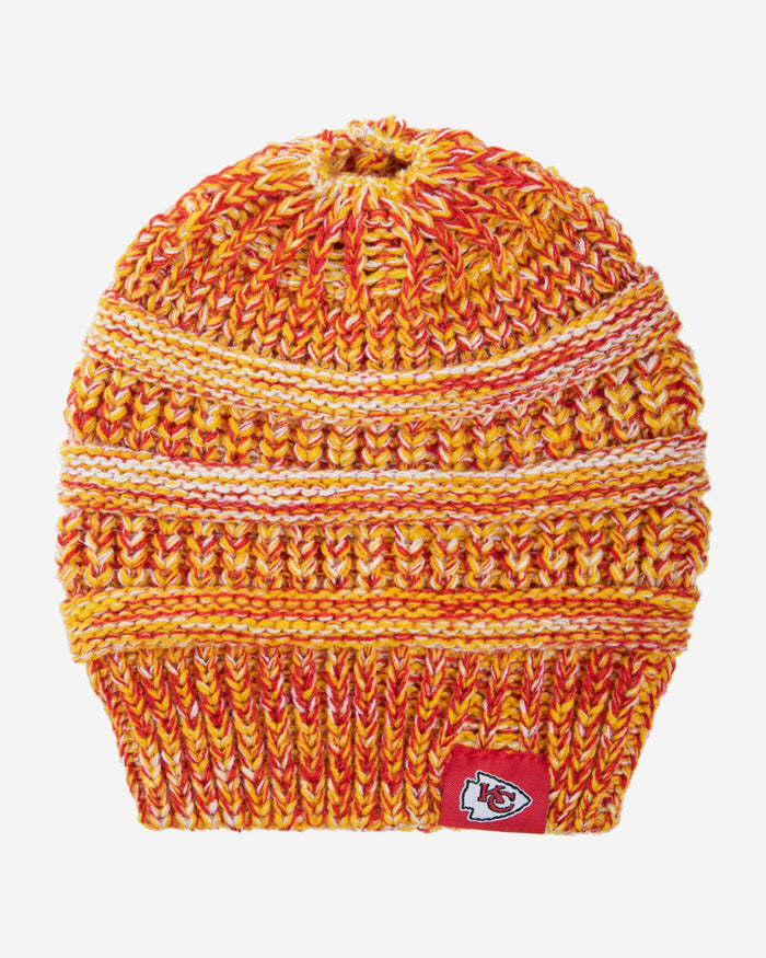 Kansas City Chiefs Womens Color Wave Ponytail Beanie FOCO - FOCO.com