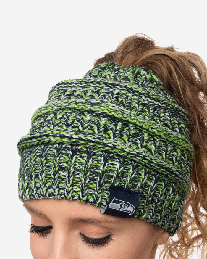 Seattle Seahawks Womens Color Wave Ponytail Beanie FOCO - FOCO.com