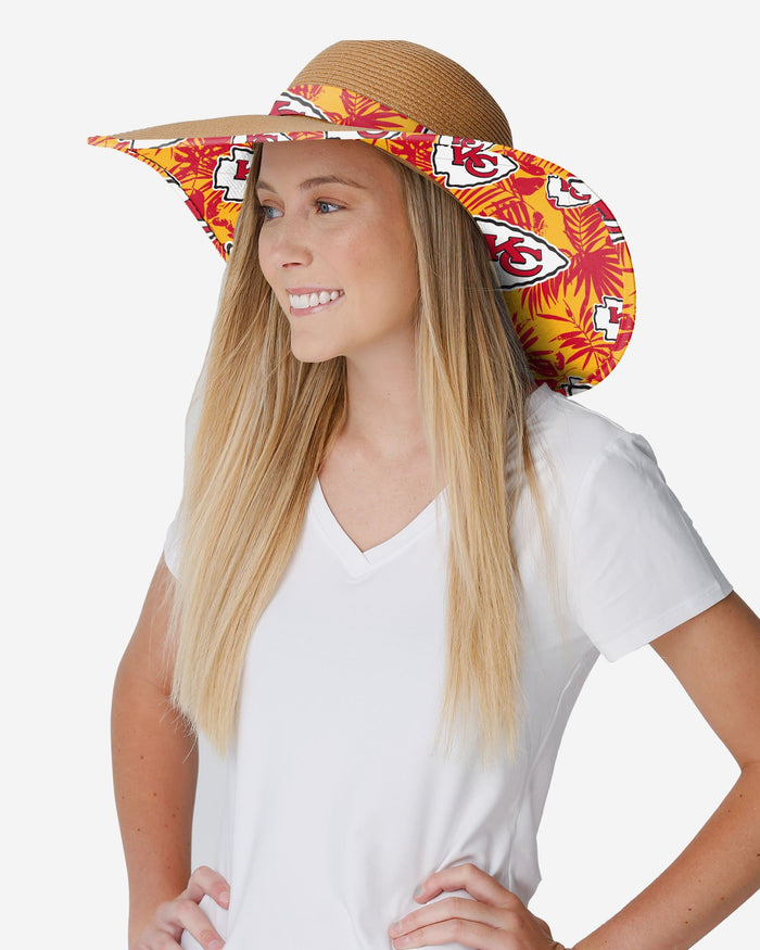 Kansas City Chiefs Womens Floral Straw Hat FOCO - FOCO.com